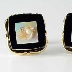 Vintage Accessories - Vintage Laminated Lucite Pearl on Shell Cufflinks